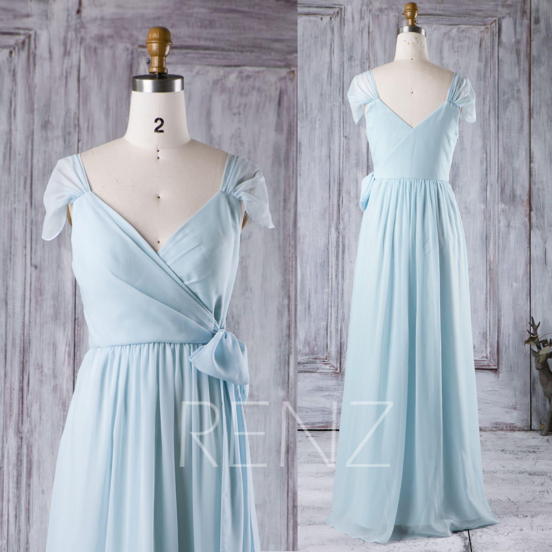 2017 Baby Blue Bridesmaid Dress Cap Sleeve Wedding Dress V
