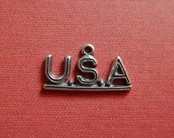 Antiqued Sterling Silver USA Charm Single-sided Open Jewelry Silver United States