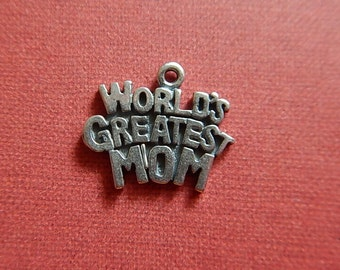 Mother's Day Antiqued Sterling Silver World's Greatest Mom Charm Single-sided Open Jewelry Silver