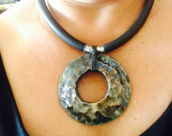 Custom Raku statement necklace- huge piece
