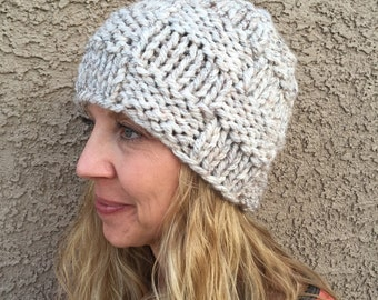 CLEARANCE Checkerboard Beanie in Wheat Basketweave Hat Knit