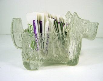 Vintage SCOTTIE SUGAR Packet HOLDER Textured Glass Planter Storage Organizer Candy Dish