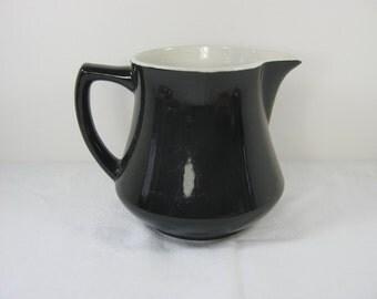 Vintage STONEWARE MILK PITCHER Black w/ White Interior Cream Farm Kitchen