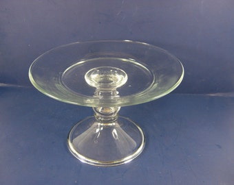 Vintage SMALL CAKE STAND Clear Glass Pastry Display Seasonal