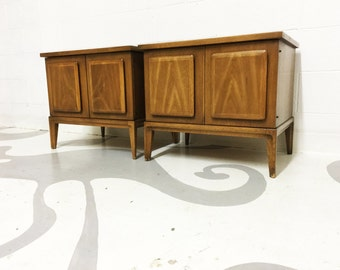 FREE SHIPPING mid century modern end tables in walnut by broyhill premier with two door in original condition