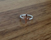 Sterling Silver with 9ct rose gold cactus Stacking Ring - Made to Order