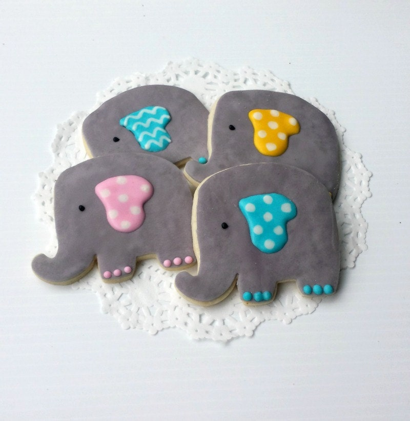 baby elephant sugar cookie favors baby shower by pfconfections