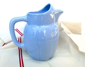 French Pitcher Blue St Uze made in France - French Jug with Ice guard - Blue Pitcher
