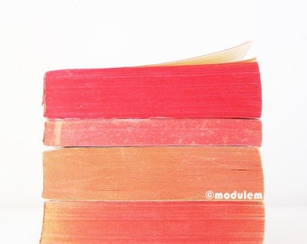 Sunday Brunch Cocktails - Red Orange Pink Print, fine art print of vintage books, piled books, vibrant, coral, magenta, giclée, 8x8, 8x10