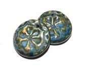 Ceramic Earring Charms Pair Rustic Stoneware Pottery Blue Green