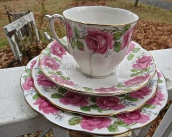 Valentine's Day Vintage English Lady Alexander Pink Rose Bone China Tea Cup, Saucer and Dishes Edged With Gold Leaf