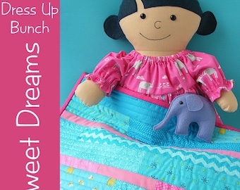 Dress Up Bunch - Doll Nightgown, Quilt and Stuffed Elephant Patterns - PDF digital pattern