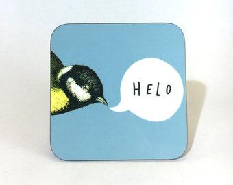 New Melamine Coaster Helo Welsh Hello Blue Tit Bird Cornflower Blue