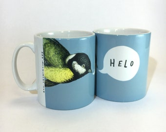 New Mug Helo Welsh Text Hello Cornflower Blue Ceramic Mug 11oz