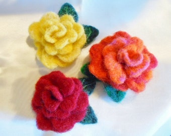Handmade Needle Felted Roses-3-red,yellow,orange