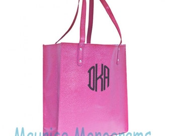 Personalized Faux Leather Tote Bag - Hot Pink Great Purse, Beach Bag, or Shopping Bag. Great Bridesmaid Gift Includes Monogram