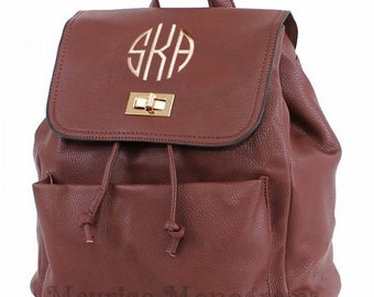 Personalized Faux Leather Dark Brown Backpack Purse  with 3 Initial Monogram Included
