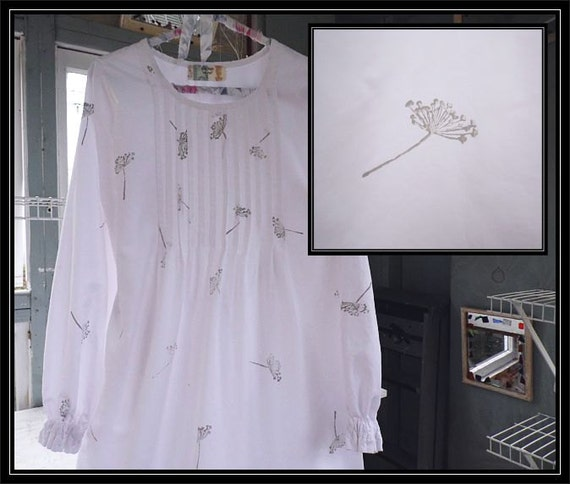 Free shipping in US-Small-XXL-Dove grey,Long Sleeve Cotton Nightgown,Vintage Fabric, PinTucked, Waltz Length, Vintage Inspired, Handmade