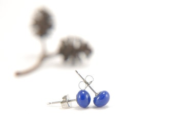 Deep cobalt blue small ball stud earrings, fused glass with surgical steel, skin-friendly