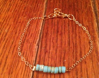 Turquoise &  Gold Chain Bracelet