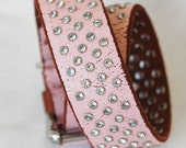 Pink Leather Dog Collar, Over 100 Handset Crystal Rivets, Custom Leather Dog Collar, Size Small to XL.