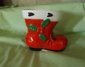 Vintage Large Christmas Santa Boot / Handpainted