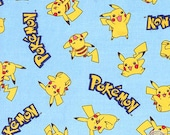 140151248 - Pokemon Pikachu Light Blue Cotton Fabric By The Yard Pokeball