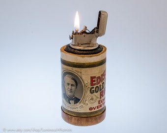 Working Thorens Figural Edison Cylinder Table Lighter - Frankenlighter #132