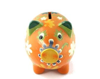 Vintage Pride Creations Papier Mache Orange Flowered Piggy Bank