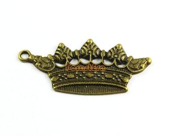 20Pcs Antique Brass Crown Charm Crown Pendant 35x18mm (PND965)