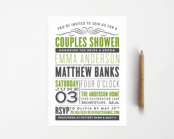 Old Fashioned Couples Shower Invitation