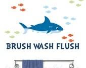 Kids Shark Bathroom Rules Fabric Decal - Ocean Bath Wall Stickers - Shark Decals - Shark Bathroom Decals - Brush Flush Wash - Boys Bathroom