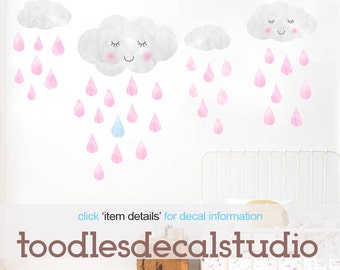 Clouds Wall Decal, Girls Cloud Fabric Decals, Reusable Rain Drops Decal, Peel and Stick Clouds, Girls Nursery Art, Girls Wall Decal Stickers