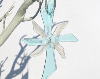 Handmade Fused Glass Snowflake Christmas Decoration - Blue & White