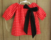 12 18 month dress Peasant Dress Minnie Mouse Red Black Polka Dot Dress Holiday Dress Peasant Top