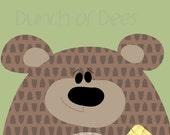 "Nursery / Kids Prints - Woodland.  Bear ""Headshot"""