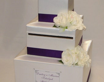 White and Eggplant Card Box-White Silk Flowers-any colors