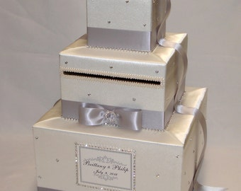 Ivory and Silver Card Box-Rhinestone accents-any color can be made