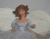 Angel Tree Topper, Christmas Tree Topper, Christmas Angel. Holiday Deco, Christmas, White, Silver