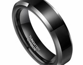 6mm Black Silver Polished Tungsten Carbide Wedding Ring Beveled Band Size 4-14