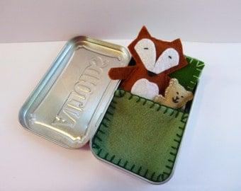 felt fox in tin - Fox in a Box w/ green bedding - wool felt fox & teddy bear in Altoids Tin - travel toy - pocket toy - purse toy in stock