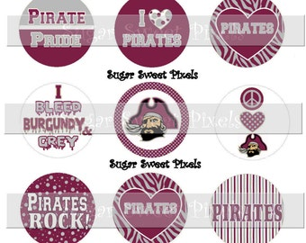 INSTANT DOWNLOAD Burgundy Grey Pirates School Mascot 1 inch circle Bottlecap Images