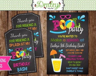 Pool Party Birthday Invitation (PO01)