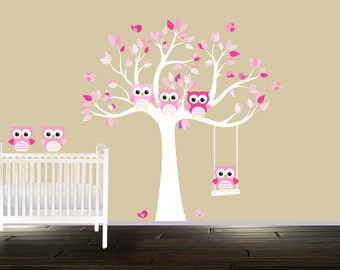 Girls Baby Room Nursery Tree Wall Decal Stickers Pink Owl Wall Decals White Tree Birds Owls Branch