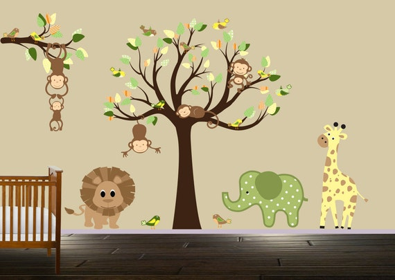 jungle animals nursery tree wall decal childrens monkey wall. Black Bedroom Furniture Sets. Home Design Ideas