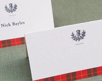Plaid Place Cards, Red Tartan,Plaid,Holiday Tartan, Scottish Thistle Place cards, Blank or Printed Set of 12