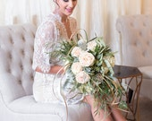 French Lace Robe for Bride, Lingerie, Getting Ready, Bridal Gift, Bachelorette party Gift, Honeymoon, Lace Kimono, Wedding Gift, White Lace