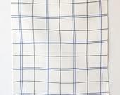 Linen Tea Towel - Tattersall in Blue + Slate