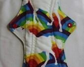 Kiki Mama Cloth Menstrual Pad Overnight 12 in Size Rainbows and Unicorns