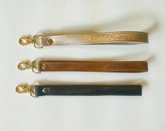 Faux leather wrist strap
